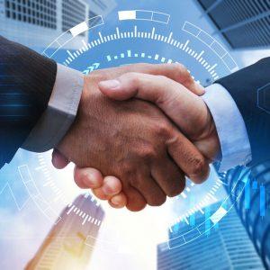business-man-handshake-with-global-network-link-connection-graph-chart-stock-market-graphic-diagram-city-background-digital-technology-internet-communication-teamwork-partnership